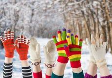 De wintervuisthandschoenen en handschoenen Stock Afbeeldingen