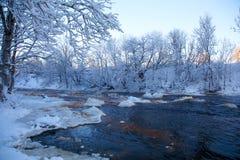 De winterwaterval Stock Afbeeldingen