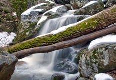 De winterwaterval en Smeltende Sneeuw Stock Foto