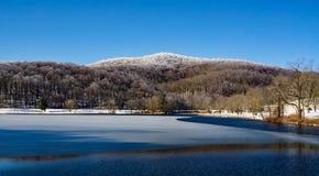 De winterweergeven van Abbott-Meer met Harkening-Heuvel royalty-vrije stock foto's