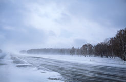 De winterweg Royalty-vrije Stock Afbeeldingen