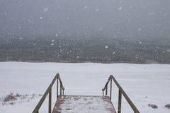 De winterweg en reis Stock Foto