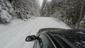 De winterweg het drijven door bos stock videobeelden