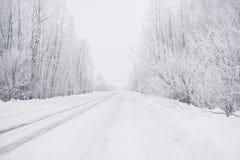 De winterweg tijdens de ochtendvorst royalty-vrije stock afbeeldingen