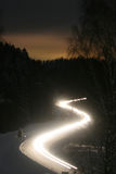 De winterweg van de nacht - onduidelijk beeld Stock Fotografie