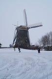 De winterwindmolen Stock Afbeelding