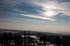 De winterzon in Polen Stock Fotografie