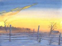 De winterzonsondergang royalty-vrije illustratie