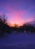 De winterzonsondergang in het dorp Royalty-vrije Stock Foto's
