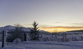 De winterzonsondergang op een sneeuwlandschap in de hooglanden stock fotografie