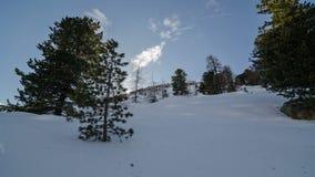 De winterzonsondergang over Bomen en de Sneeuwtijdspanne van de Heuveltijd Dolly Shot stock video
