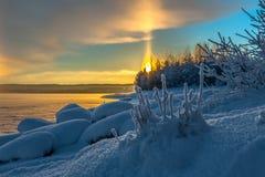 De winterzonsopgang Royalty-vrije Stock Afbeeldingen