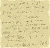 De wiskunde van formules op oud document vector illustratie