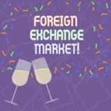 De Wisselmarkt van de handschrifttekst Concept die globale gedecentraliseerde handel van munten het Gevulde Wijnglas Roosteren be royalty-vrije illustratie