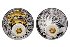 De Witrussische zilveren Vissen van de muntstukastrologie stock fotografie
