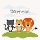 De witte achtergrond met van de de kattentijger en leeuw van de kleurenscène het leuke dieren houden dient gras in stock illustratie