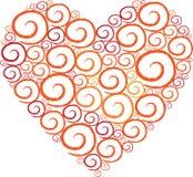 De witte achtergrond van de Werveling van de Vorm van het hart Stock Foto's