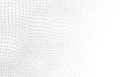 De witte achtergrond van de golf Golf met het verbinden van punten en lijnen op donkere achtergrond Golf van deeltjes het 3d teru stock afbeelding