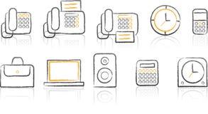 De witte achtergrond van Icon_office van de schets Stock Afbeeldingen