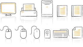 De witte achtergrond van Icon_office van de schets Royalty-vrije Stock Afbeeldingen