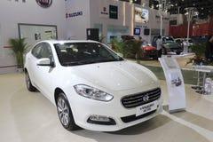 De witte auto van toestemmingsviaggio Royalty-vrije Stock Foto's