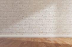 De witte bakstenen muur en de houten vloer, bespotten omhoog, kopiëren ruimte, vector illustratie