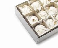 De witte ballen van Kerstmis Royalty-vrije Stock Foto's
