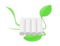 De witte batterijen met geïllustreerder groen doorbladert Royalty-vrije Stock Fotografie