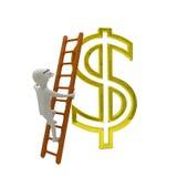 De witte bedrijfsmens beklimt de ladder aan goud Stock Fotografie
