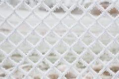 De witte bevroren sneeuw schilfert achtergrond af Stock Afbeeldingen