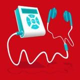 De witte blauwe MP3 speler wordt aangesloten aan de oortelefoon Royalty-vrije Stock Foto's