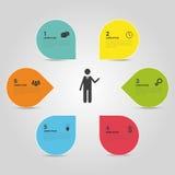 De witte cirkels van het Infographicontwerp op de grijze achtergrond Stock Fotografie
