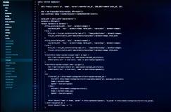 De witte code van de Webtoepassing inzake de donkerblauwe achtergrond Stock Afbeeldingen