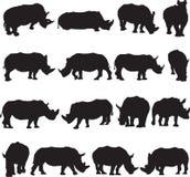 De witte contour van het rinocerossilhouet Royalty-vrije Stock Afbeeldingen