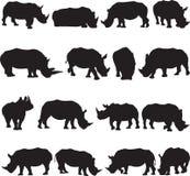 De witte contour van het rinocerossilhouet Royalty-vrije Stock Fotografie
