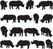 De witte contour van het rinocerossilhouet Royalty-vrije Stock Foto's