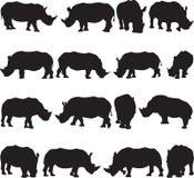 De witte contour van het rinocerossilhouet Royalty-vrije Stock Foto