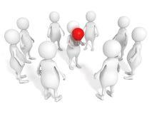 De witte 3d groep van het mensenteam met de rode holding van de de gloeilampenleider van het ideeconcept Stock Foto's