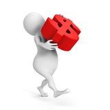 De witte 3d mens draagt het grote rode symbool van de dollarmunt Stock Afbeelding