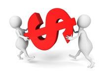 De witte 3d mensen dragen het grote rode symbool van de dollarmunt Stock Afbeelding