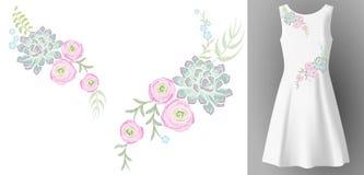 De witte decoratie van de het borduurwerkmanier van de vrouwenkleding 3d realistische onechte omhoog bloemen Bloem de succulente  stock illustratie
