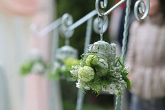 De witte decoratie van het bloemenhuwelijk Stock Foto
