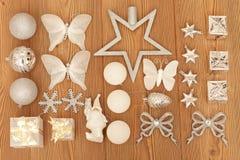 De witte decoratie van Kerstmis Stock Foto's