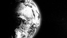 De witte die Aardeplaneet door schaduw half wordt behandeld die op zwarte achtergrond roteren, vat wetenschappelijke achtergrond  vector illustratie