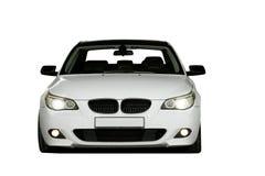 De witte die sportwagen van de bliksemluxe op wit wordt geïsoleerd Stock Afbeelding