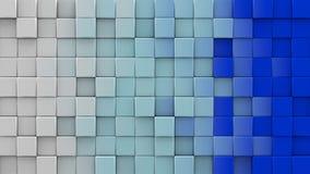 De witte en blauwe 3D kubussen geven terug vector illustratie