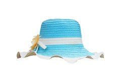 De witte en blauwe hoed van het stroweefsel Stock Foto
