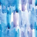 De witte en blauwe naadloze vlekken van de patroonwaterverf stock foto