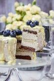 De witte en donkere die cake van de chocoladelaag met bosbessen wordt verfraaid Royalty-vrije Stock Foto