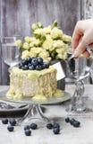 De witte en donkere die cake van de chocoladelaag met bosbessen wordt verfraaid Royalty-vrije Stock Afbeelding
